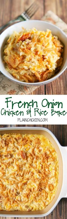 French Onion Chicken and Rice Bake Recipe - Chicken, French Onion Dip, Cream of . - French Onion Chicken and Rice Bake Recipe – Chicken, French Onion Dip, Cream of … – Thinks I - French Onion Dip, French Onion Chicken, French Fried Onions, French Toast, Rice Bake Recipes, Baking Recipes, Healthy Recipes, Potato Recipes, Onion Recipes