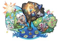 Official Artwork and Concept art for Pokemon Sun & Moon versions on the Nintendo This gallery includes supporting artwork such as character, items and places art. Pokemon Go, Lucario Pokemon, Pokemon Facts, Pokemon Fusion, Sun Moon, Starter Evolutions, Pokemon Official, Go Wallpaper, Pokemon Images