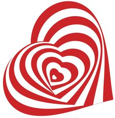 Amazon.com - HEART SPIRAL OPTICAL ILLUSION RED WHITE Vinyl Decal Sticker Two in One Pack (12 Inches Tall) -