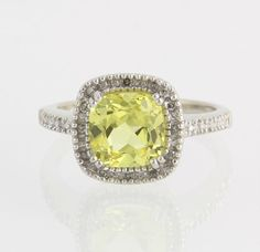 Synthetic Yellow Sapphire Halo Ring - 10k White Gold Genuine Diamonds Fine Band