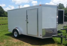 """2014 ENCLOSED 6x12V-NOSE CARGO TRAILER REAR RAMP 6' 3"""" INTERIOR- CRANK JACK 2"""" COUPLER, LED REAR TAIL LIGHTS 36"""" SIDE DOOR, SCREWED EXTERIOR ALUM. METAL' ¾"""" PLYWOOD FLOOR , 3/8"""" PLYWOOD WALLS 12 VT. DOME LIGHT, ALUMINUM JEEP FENDERS, ROOF VENT , STONE GUARD 3500# DROP LEAF SPRING AXLE, E-Z LUBE HUBS DROP REAR RAMP   $2450 Jeep Fenders, Jack 2, Plywood Walls, Roof Vents, Cargo Trailers, Leaf Spring, Side Door, Tail Light, Flooring"""