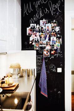 chalkboard wall in the kitchen (via Facebook)