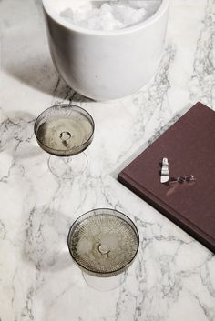 Ferm Living - 2 Ripple Smoked Grey Champagne Saucers