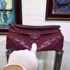 Chanel Zhu early autumn with imports sheepskin lambskin handbag / Bulk Bag Claret