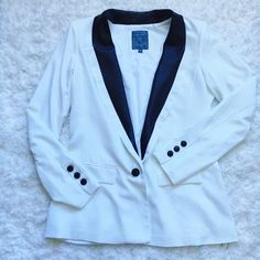 Guess blazer With leather detail. worn once. size 10. such a classic but white is really not for me! Guess Jackets & Coats Blazers