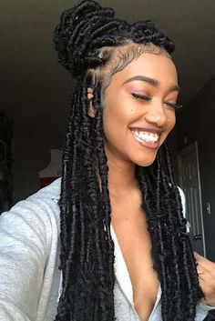 There's a lot to be said for faux locs – they offer you the chance to play around with numerous a lot of designs without having to place in...17+ Trendy Crochet Faux Locs Hairstyles Create your own version #goddeslocs #fauxlocs #bohemianlocs #locs #half&half #crochetfauxlocs #naturalhairstyles #hairstyles #protectivestyles #hairstylist #blackwomen #naturalhair #hairart #chicagostylist