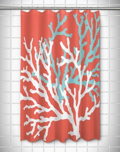 Coral Aqua Grey White Chevron Shower Curtain | Coral aqua, Aqua ...