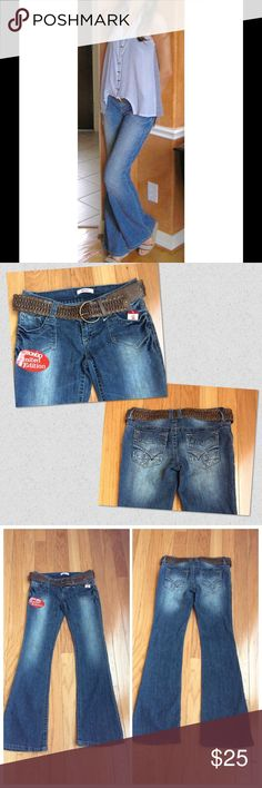 """Bongo Boot Cut Jeans Limited Edition. Has tags but pricing cut off. Low rider boot cut. Hips 34""""; pant length 33""""; leg width 9.5"""" belt included! BONGO Jeans"""