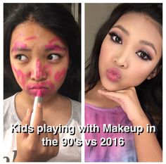 Kids playing with makeup then vs now What's So Funny, Funny Kids, Hilarious, Kids Nowadays, Laughing Pictures, Then Vs Now, Makeup Humor, Expectation Vs Reality, Danisnotonfire And Amazingphil