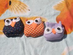 The kids made their own owl  beanbags  for Nite Owl Sleepover of Camp Grandma