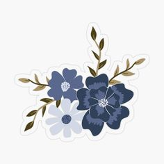 'Blue Viney Floral' Glossy Sticker by StudioPosies Journal Stickers, Scrapbook Stickers, Cool Stickers, Printable Stickers, Sticker Shop, Sticker Design, Homemade Stickers, Aesthetic Stickers, Transparent Stickers
