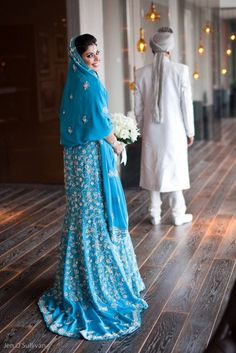 Beautiful blue and gold... nicely done... Punjabi Wedding Dress