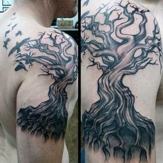 Swarm Of Ravens And Ghostly Tree Tattoo On Shoulders For Men