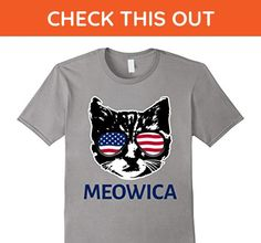 Mens Meowica Funny Patriotic Cat Lovers Kitten 4th July T-Shirt  XL Slate - Holiday and seasonal shirts (*Amazon Partner-Link)