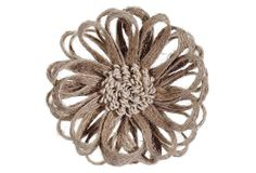 "One Kings Lane - Holiday at the Lodge - S/2 5"" Jute Flower Clip-on Ornaments"