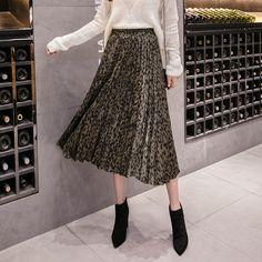 076f62a92b female pleated skirts leopard print A-Line skirts frill hem green  Item  code 9884666