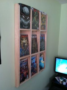 Comic Book Display Case Finished por customfurniturebyCC en Etsy Not only is the case dope but they have great taste look at the turtles! Comic Book Rooms, Comic Room, Comic Book Display, Book Displays, Organisation Hacks, Organization, Display Cases, Display Ideas, Man Cave