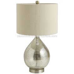 wholesale small pumpkin silver mercury glass table lamp with white cylinder fabric lampshade for villa decor