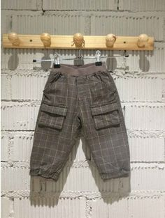Pantalon PETITBISOU marrón a cuadros 12 MESES