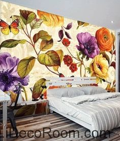 Retro blooming flowers rose peony butterfly oil painting effect wall art wall decor mural wallpaper wall  IDCWP-000212