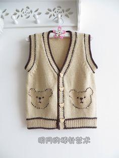 小棕熊男宝宝开衫2件套(背心+长袖)视频 - 明月的棒针艺术 - 明月的棒针艺术