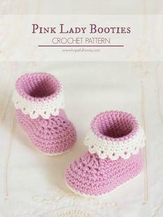 Hopeful Honey   Craft, Crochet, Create: Pink Lady Baby Booties - Free Crochet Pattern