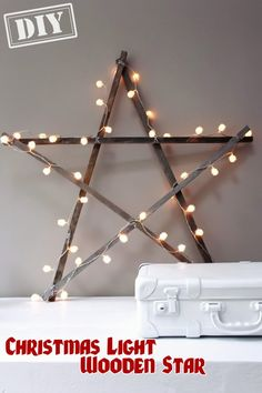 DIY Christmas Light Wooden Star – Top Easy Interior Design For Party Decor Project - DIY Craft (2)