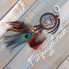 Deerskin Dreamcatcher Purse Charm Peacock Feathers Bag Ring Bohemian Accessories