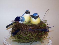 Wedding Cake Topper with BluebirdsRustic by sugarplumcottage, $30.00