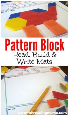 Integrate reading and writing into math wtih these FREE Pattern Block Read, Build and Write Mats ~ 12 mats & 12 pattern block cards PLUS blank mats & cards ~ easy to adapt and use! 1st Grade Math, Kindergarten Math, Teaching Math, Maths, Grade 1, Second Grade, Math Stations, Math Centers, Work Stations