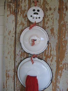Vintage enamelware Snowman $30.00 These lids are very findable at antique stores and garage sales.