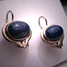 ON HOLD Vintage Lapis Lazuli Earrings Estate Art Nouveau Deco. $199.00, via Etsy.