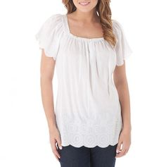 Emboidered Scallop Hem Top white