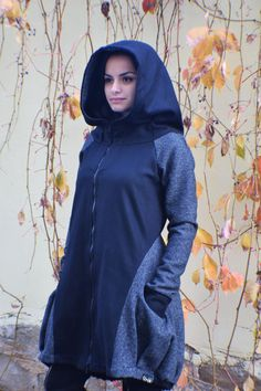 ♥ EXPRESS worldwide shipping - buy your favorite piece today and wear it within just 1-3 days upon shipping ♥  Amazing black and gray winter coat with big hood for a cozy holiday season. Enjoy the winter months in this gorgeous asymmetrical coat! Giving you the look of the urban little red riding hood, this color-blocked coat is a true gem of your winter collection. Loose fit of the upper part and the tulip-shaped lower part are making it a total sensation of the urban streets.  Wide hood…