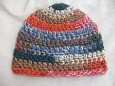 multi colored Crochet Baby Hat by AngieHallHaviland on Etsy, $9.00