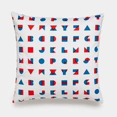 Alphablocks Blue Throw Pillows | Modern Decorative Pillows | Unison | It's a shape! It's a letter! It's super cute (and perfectly primary) in blue and red! Alex Fuller's Alphablocks screen print reflects the energy and fun of the kids who love it.