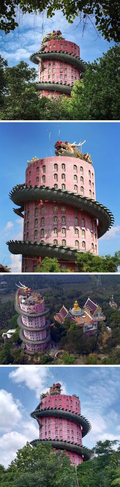 A 17-Story Dragon Climbs Thailand's Pink 80-Meter Buddhist Temple