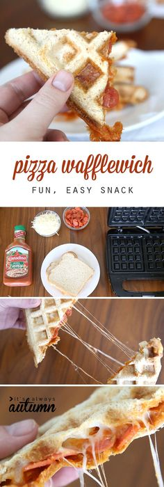 My kids would love this! Make pizza in the waffle iron with sandwich bread and toppings for a super easy snack. Recipe kids can make.