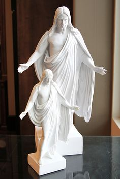 """This awe-inspiring cultured marble Christus statue depicts Jesus Christ just as the scriptures describe Him, beckoning to us with open arms in a most pleasant manner, as if saying: """"Come unto me. Arte Lds, Open Arms, Collectible Figurines, White Marble, Jesus Christ, Culture, Statue, Studio, Amazon"""