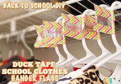 Pre-plan your outfits for the week with this easy back to school DIY idea - try duct tape school clothes flags.