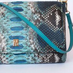 Blue genuine python cross body bag by GLENI