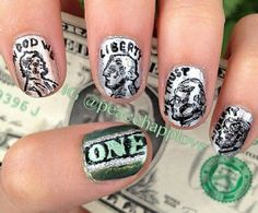 9 Best Dollar Nail Art Designs  : Free hand dollar nail art: