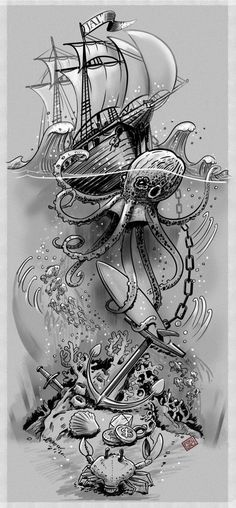 39 Ideas Tattoo Sleeve Ocean Octopuses For 2019 Related Octopus Tattoo Designs that are worth every pennyhairstyles for long hair videos Octopus Tattoos, Mermaid Tattoos, Tribal Tattoos, Turtle Tattoos, Design Tattoo, Tattoo Designs, Trendy Tattoos, Tattoos For Guys, Ocean Theme Tattoos
