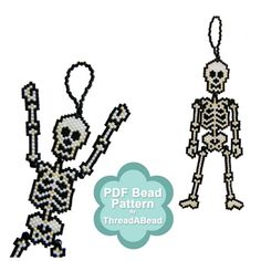 Bead Pattern Spookie The Skeleton Ornament by ThreadABead on Etsy