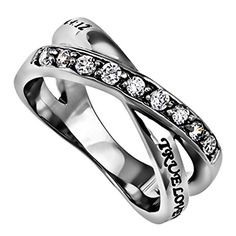 True Love Waits Purity Ring, Christian Bible Verse, Stainless Steel Weave Band with Simulated CZ Stones, Church Chastity Ceremony - http://www.loveuniquerings.com/purity-rings/true-love-waits-purity-ring-christian-bible-verse-stainless-steel-weave-band-with-simulated-cz-stones-church-chastity-ceremony/