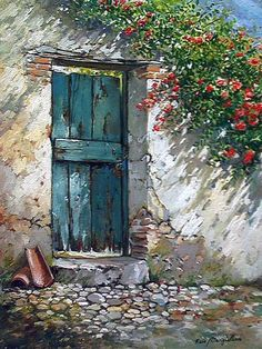 Photos from Francesco Mangialardi (oilpaints) on Myspace Urbane Kunst, Old Doors, Doorway, Painting Inspiration, Portrait Inspiration, Painting & Drawing, Watercolor Paintings, Watercolors, Acrylic Paintings