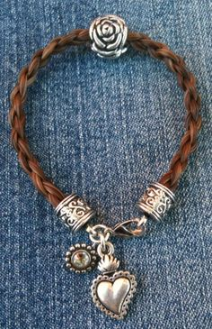 Braided Horsehair Charm Bracelet with Silver Rose by JaxSnacks, $45.00