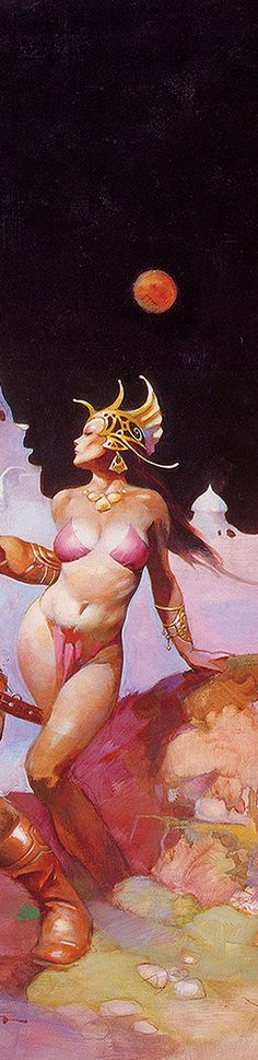 Detail from a Frank Frazetta painting. This would be the part with Dejah Thoris