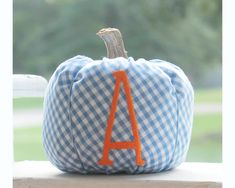 Preppy Gingham Pumpkin Blue and Orange Pumpkin Blue Pumpkin   Etsy Pumpkin First Birthday, 1st Boy Birthday, Monogram Stockings, Easter Buckets, Pink Pumpkins, Baby Girl Gifts, Gifts For Boys, Gingham, Blue Pumpkin