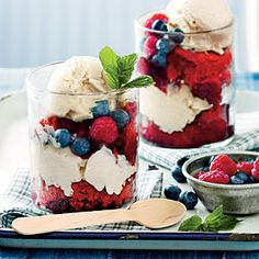Patriotic red velvet-berry cobbler. Use recipe provided or box mix red velvet cake to make this pretty and yummy Memorial Day or Fourth of July dessert.
